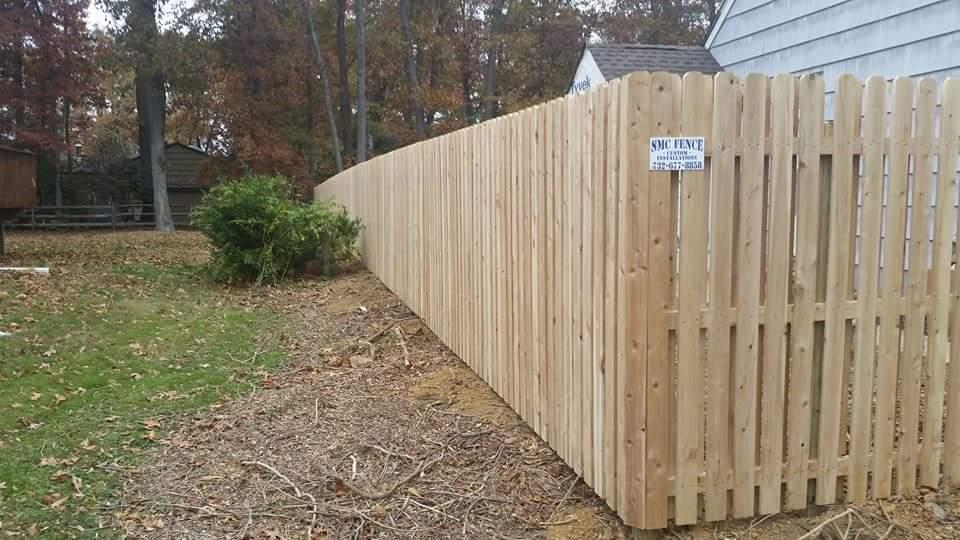 Board on Board Dog-ear Pickets, Narrow Space Cedar | SMC Fence